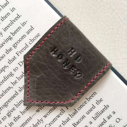 personalised_grey_leather_bookmark_by_Law