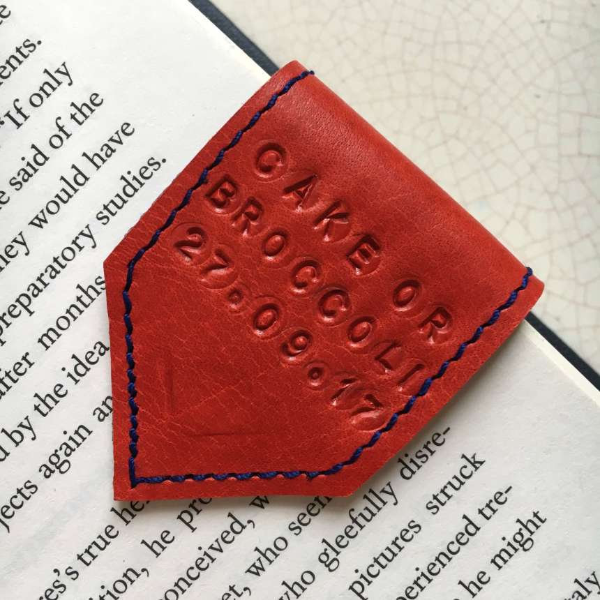 personalised leather bookmark by Law