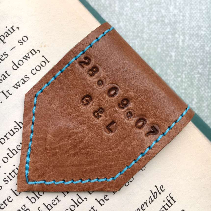 personalised_tan_leather_bookmark_by_Law