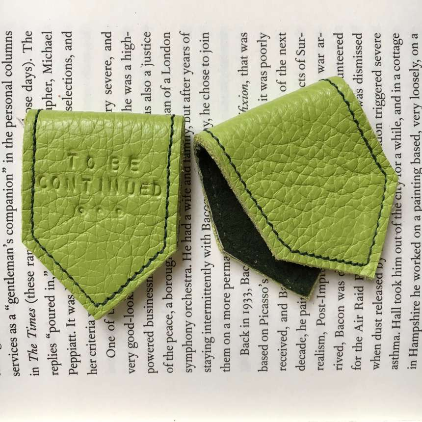 Lime_green_leather_bookmark_by_Law